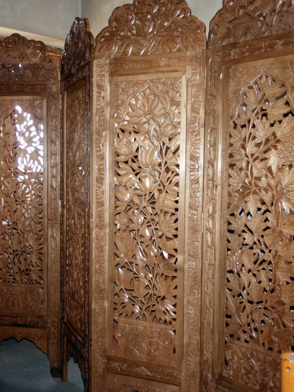 Four Panel Walnut Screen Four Seasons Design For Sale